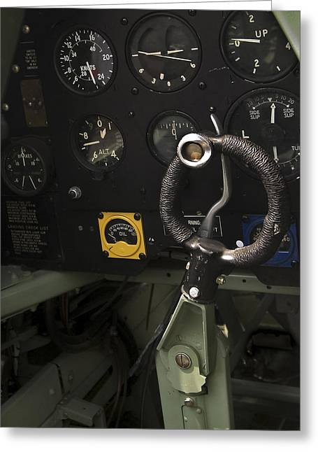 Gauge Greeting Cards - Spitfire Cockpit Greeting Card by Adam Romanowicz