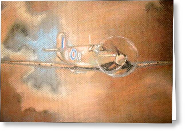 Airplane Pastels Greeting Cards - Spitfire Greeting Card by Daniel King