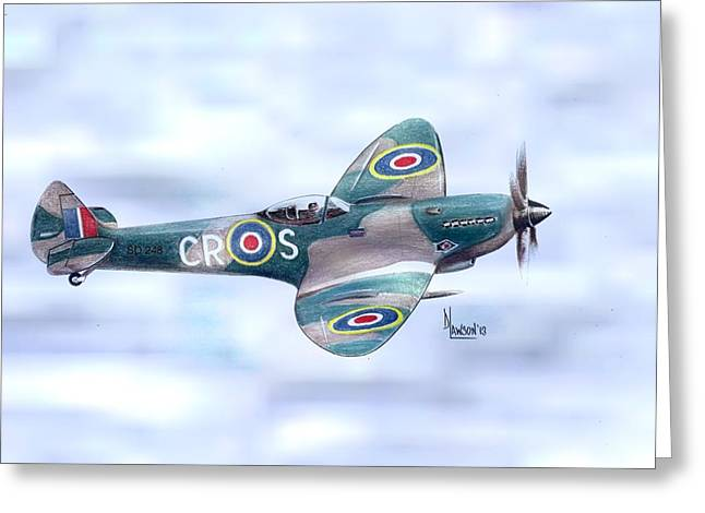 Spitfire Drawings Greeting Cards - Spitfire Greeting Card by Dave Lawson