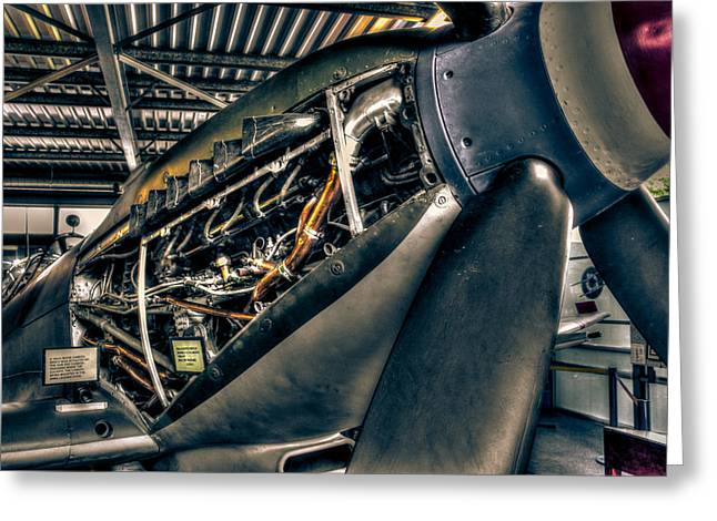 Fighter Pilot Greeting Cards - Spitfire engine Greeting Card by Ian Hufton