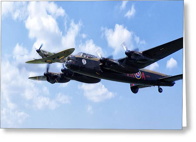 Lancasters Greeting Cards - Spitfire Escort Greeting Card by Peter Chilelli