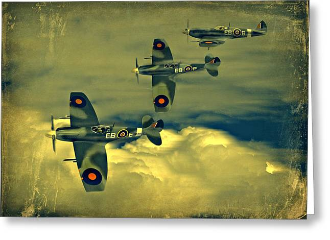 Steven Agius Greeting Cards - Spitfire Flight Greeting Card by Steven Agius