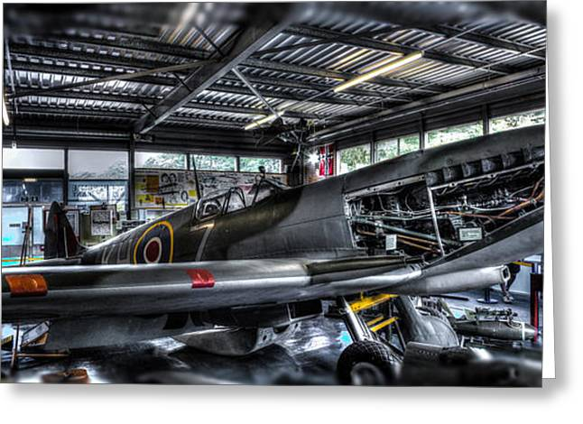 Fighter Photographs Greeting Cards - Spitfire hanger panorama Greeting Card by Ian Hufton