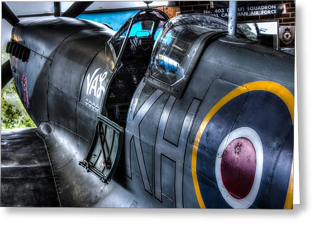 Cockpit Greeting Cards - Spitfire Greeting Card by Ian Hufton