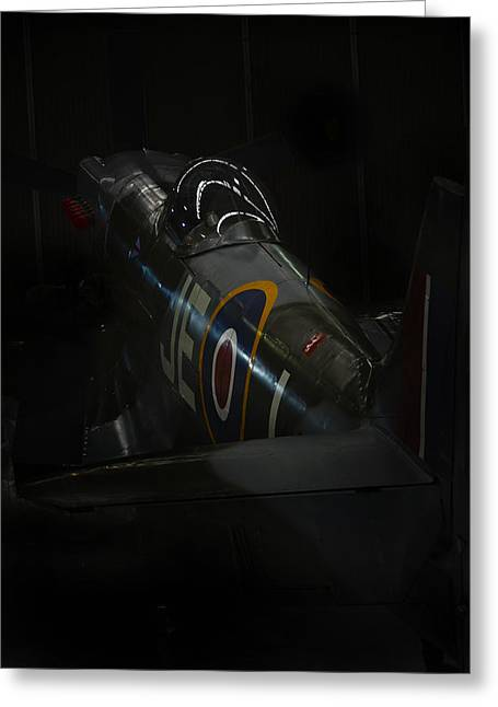 Raf Greeting Cards - Spitfire in the Shadows  Greeting Card by Jason Green