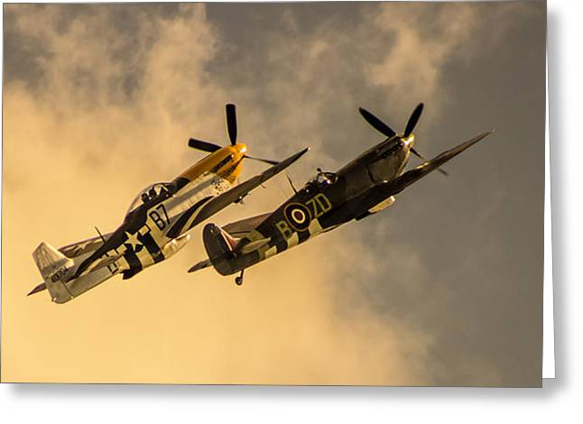 Air War Greeting Cards - Spitfire Greeting Card by Martin Newman