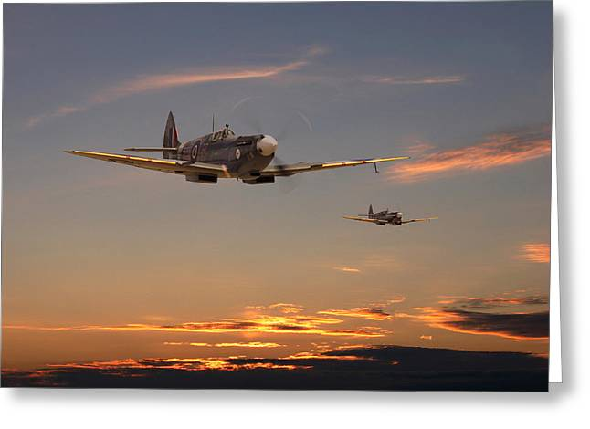 Fighter Aircraft Greeting Cards - Spitfire - Mission Complete Greeting Card by Pat Speirs