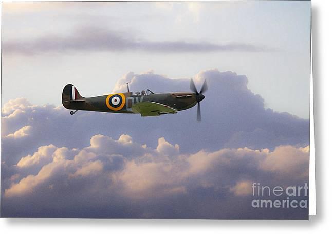 History Channel Digital Greeting Cards - Spitfire Mk1 N3200  Greeting Card by J Biggadike