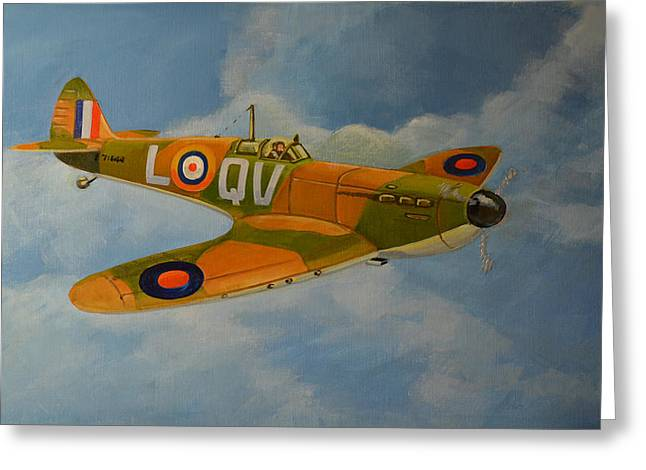 Murray Mcleod Paintings Greeting Cards - Spitfire Mk1a Greeting Card by Murray McLeod