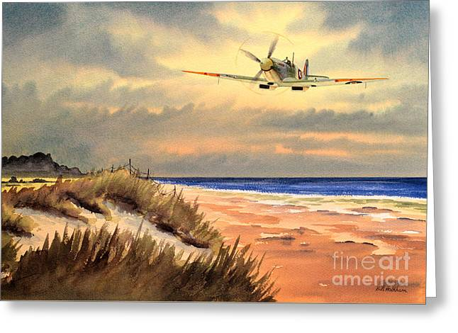 Sand Dunes Paintings Greeting Cards - Spitfire MK9 - Over South Coast England Greeting Card by Bill Holkham