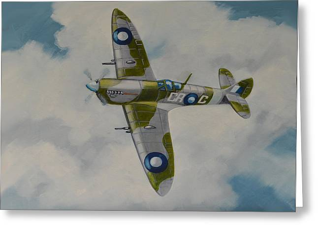 Murray Mcleod Paintings Greeting Cards - Spitfire Mk.VIII Greeting Card by Murray McLeod