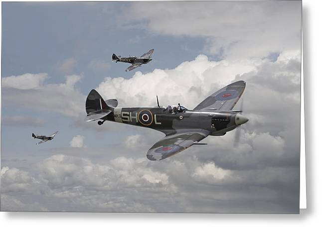 Spitfire Greeting Cards - Spitfire - On Patrol Greeting Card by Pat Speirs