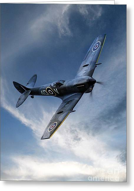 Xvi Greeting Cards - Spitfire Pass Greeting Card by J Biggadike