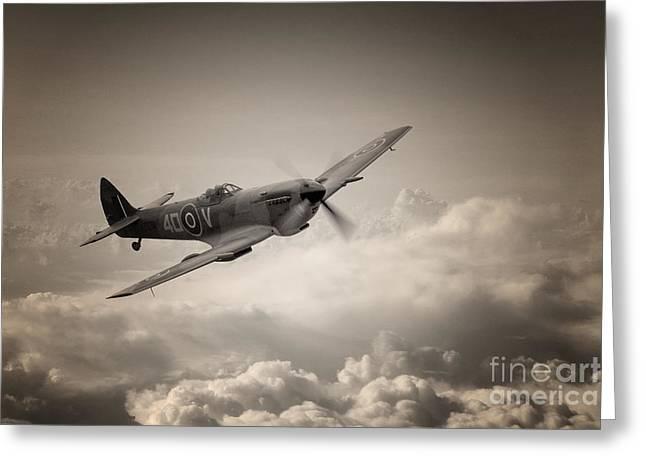 Spitfire Patrol Greeting Card by J Biggadike