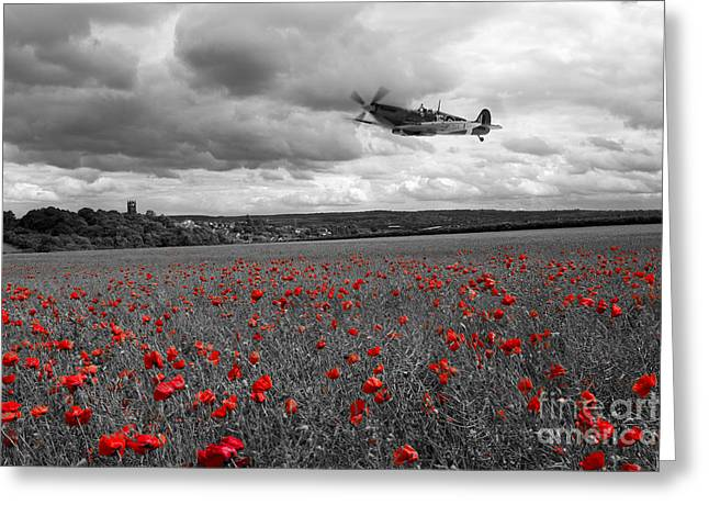 Spitfire Greeting Cards - Spitfire Red  Greeting Card by J Biggadike