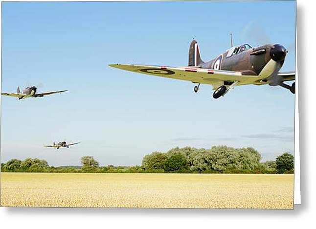 Fighters Greeting Cards - Spitfire - Red Section Airborne Greeting Card by Pat Speirs