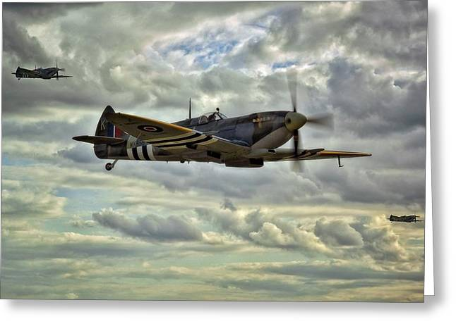 Raf Greeting Cards - Spitfire Squadron Greeting Card by Jason Green