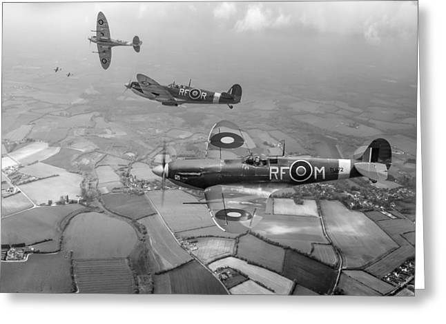 Luftwaffe Fighter Aces Greeting Cards - Spitfire sweep black and white version Greeting Card by Gary Eason