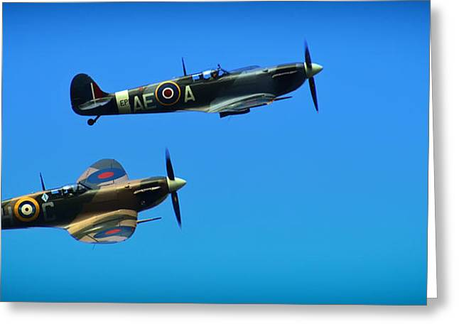Spitfire Greeting Cards - Spitfire Tandem Greeting Card by Mountain Dreams