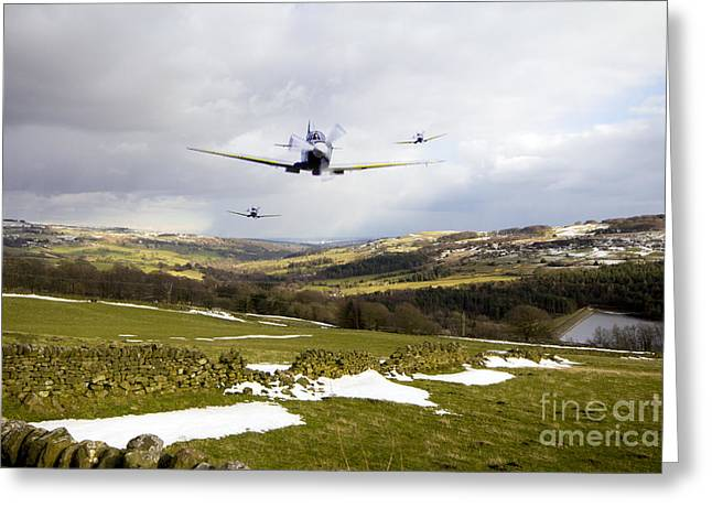 Spitfire Greeting Cards - Spitfire Trio Greeting Card by J Biggadike
