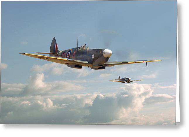 Spitfire Greeting Cards - Spitfire - Twos Company Greeting Card by Pat Speirs