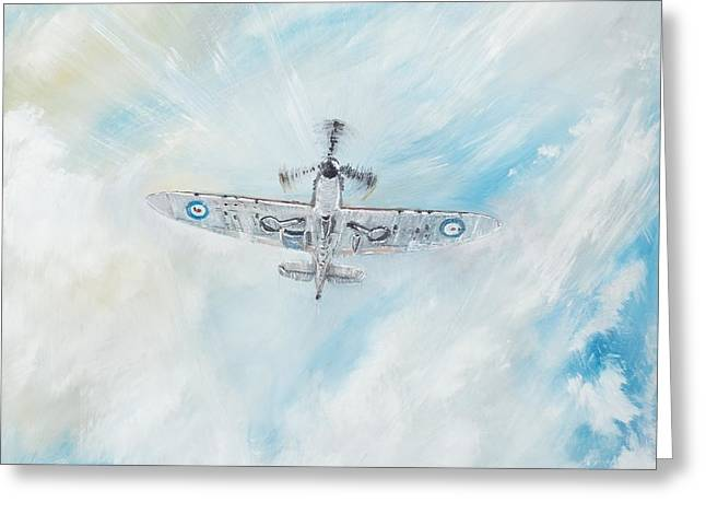 Military Airplanes Paintings Greeting Cards - Spitfire Greeting Card by Vincent Alexander Booth