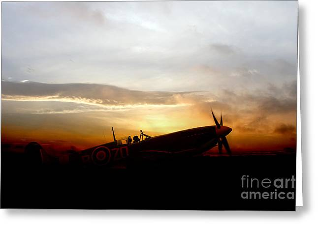 Royal Art Greeting Cards - Spitfire Waiting  Greeting Card by J Biggadike