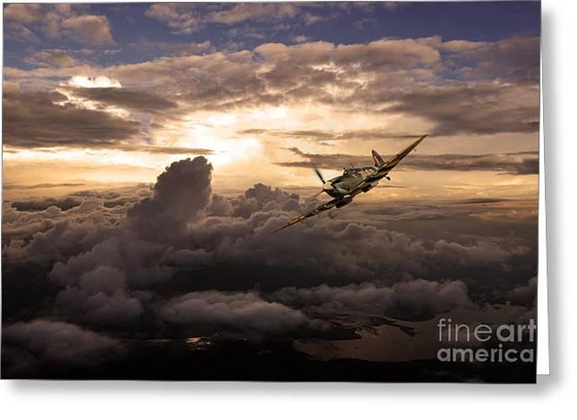 Military Airplanes Greeting Cards - Spitfire Wonder  Greeting Card by J Biggadike