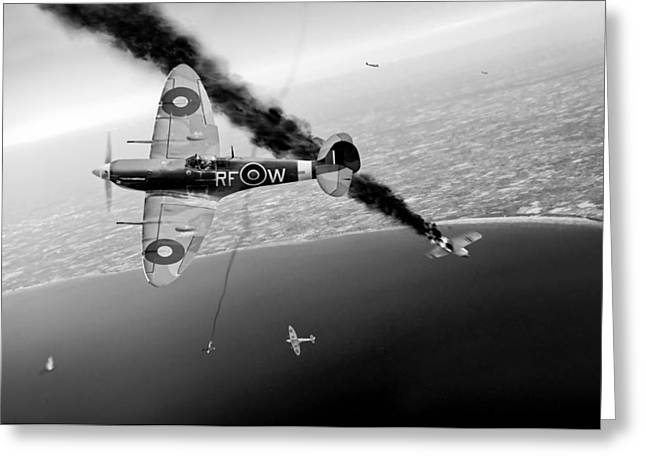 Spitfire Greeting Cards - RAF Spitfires in Channel dogfight black and white version Greeting Card by Gary Eason