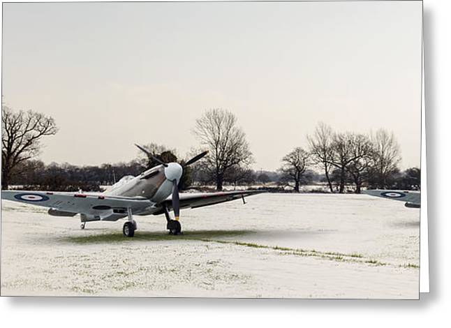 Wintry Greeting Cards - Spitfires in the snow Greeting Card by Gary Eason