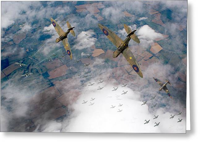 Spitfire Greeting Cards - RAF Spitfires swoop on Heinkels in Battle of Britain Greeting Card by Gary Eason