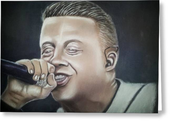 Seattle Pastels Greeting Cards - Spittin featuring Macklemore Greeting Card by D Rogale