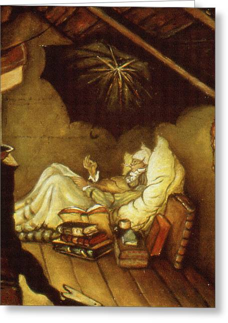 Contemporary_art Greeting Cards - Spitzweg Repainted - Romantic Oil Painting Greeting Card by Peter Fine Art Gallery  - Paintings Photos Digital Art