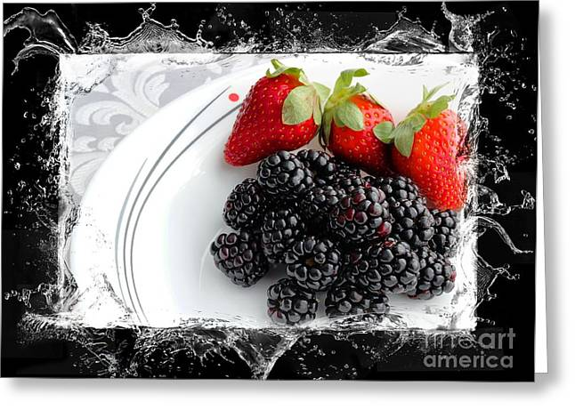 Strawberry Bunch Greeting Cards - Splash - Fruit - Strawberries and Blackberries Greeting Card by Barbara Griffin