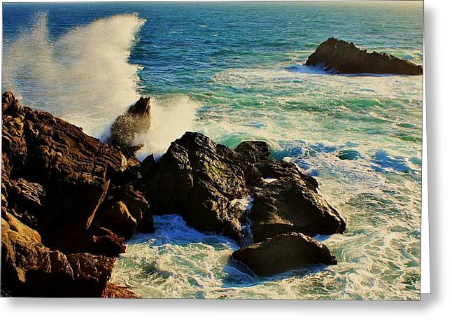 Ocean Spray Greeting Cards - Splash Greeting Card by Benjamin Yeager