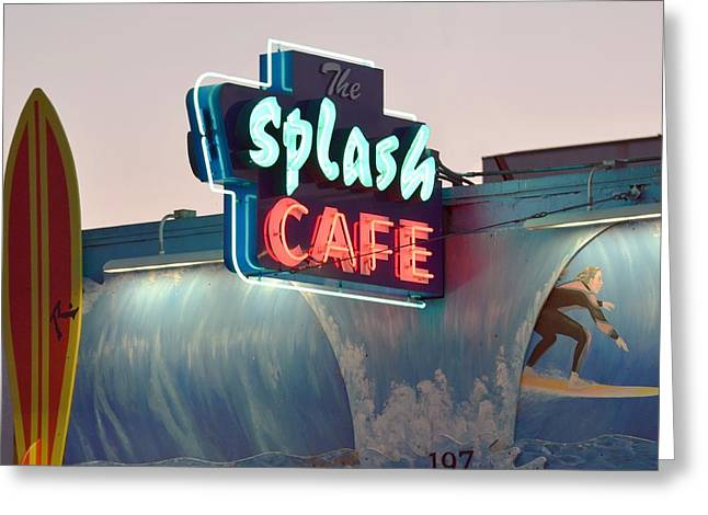 Clam Chowder Greeting Cards - Splash Cafe Greeting Card by Classic Visions
