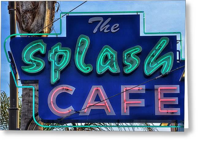 Clam Chowder Greeting Cards - Splash Cafe - Pismo Beach Greeting Card by Bill Owen