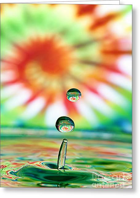 Rain Droplet Photographs Greeting Cards - Splash Greeting Card by Darren Fisher