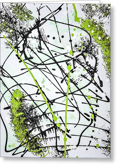 Acylic Painting Greeting Cards - Splash Green Greeting Card by Melissa Smith