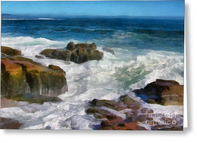 New England Ocean Greeting Cards - Splash Greeting Card by Helene Guertin