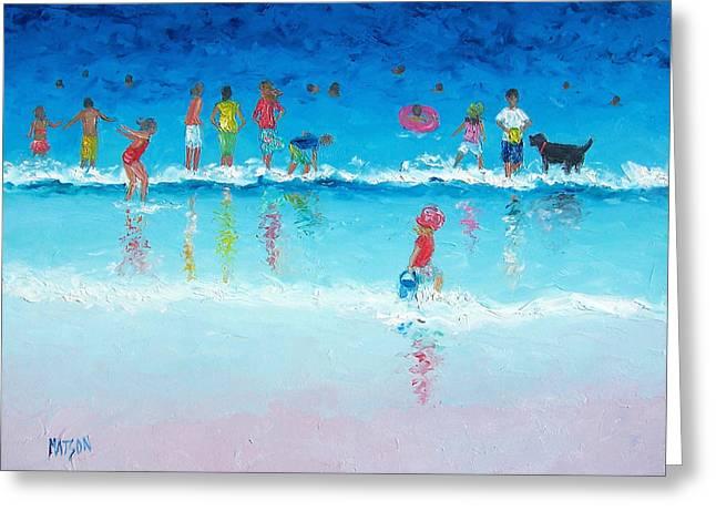Kids Swimming At Beach Greeting Cards - Splash Greeting Card by Jan Matson