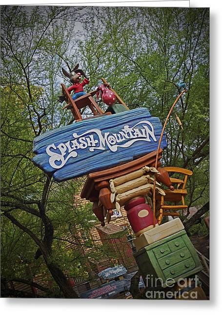 Magic Pyrography Greeting Cards - Splash Mountain Sign Greeting Card by AK Photography