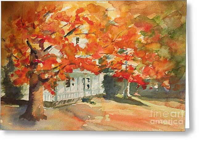 Old Maine Houses Greeting Cards - Splash of Fall Color Greeting Card by B Rossitto