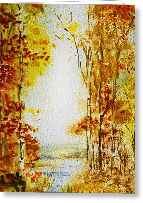 Autumn Scenes Greeting Cards - Splash of Fall Greeting Card by Irina Sztukowski