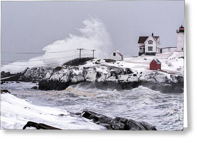 Maine Lighthouses Greeting Cards - Splash over Greeting Card by Scott Thorp