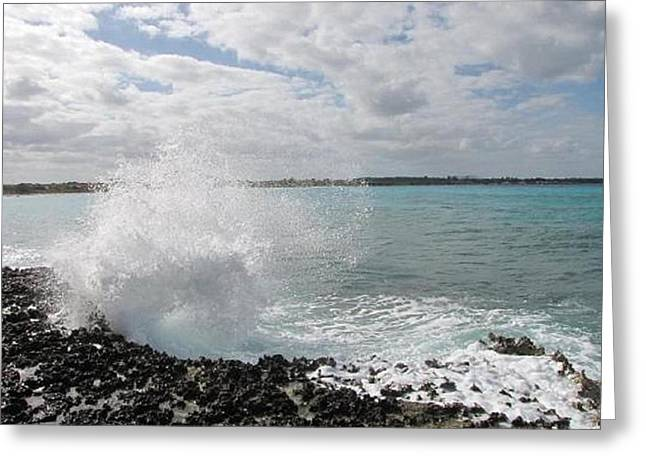 Ocean Photography Pyrography Greeting Cards - Splash Greeting Card by Sharon Lemay
