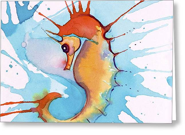 Splash Seahorse Greeting Card by Jane Wilcoxson