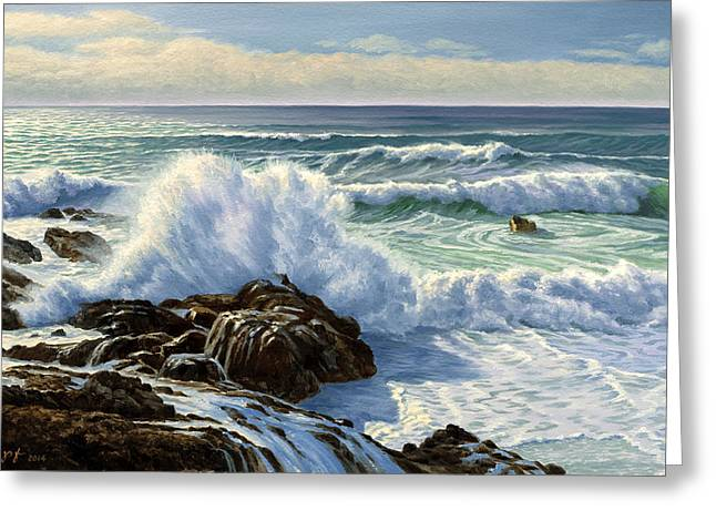 Pacific Greeting Cards - Splash Seascape Greeting Card by Paul Krapf