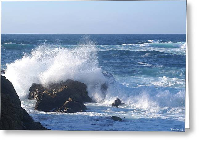 California Big Wave Surf Greeting Cards - Splash Senic Highway 1 California Castline Greeting Card by Barbara Snyder