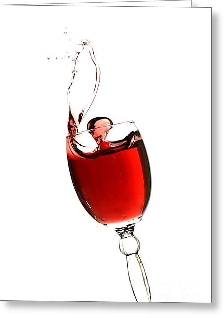 Red Wine Splash Greeting Cards - Splashing glass of red wine Greeting Card by Andreas Berheide